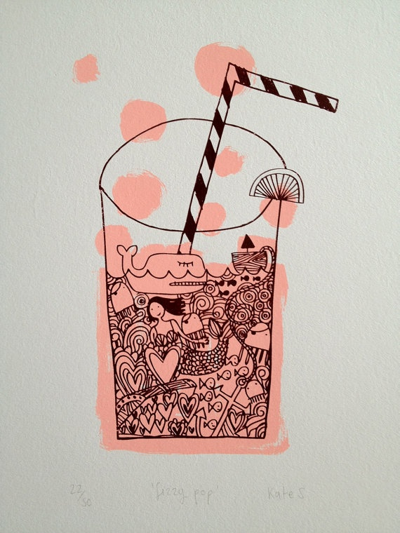 I love the childish feeling to this design, with all the little illustrations in one little glass. I could see this as a print for clothing design as well. The pop of pink color makes the linework stand out
