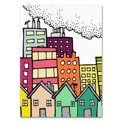 "Trademark Art 'Dirty City' Print on Wrapped Canvas Size: 19"" H x 14"" W"