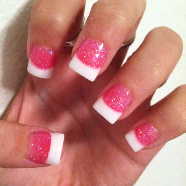 Cute White Tip Nails: Sparkly Pink And White Tips :)