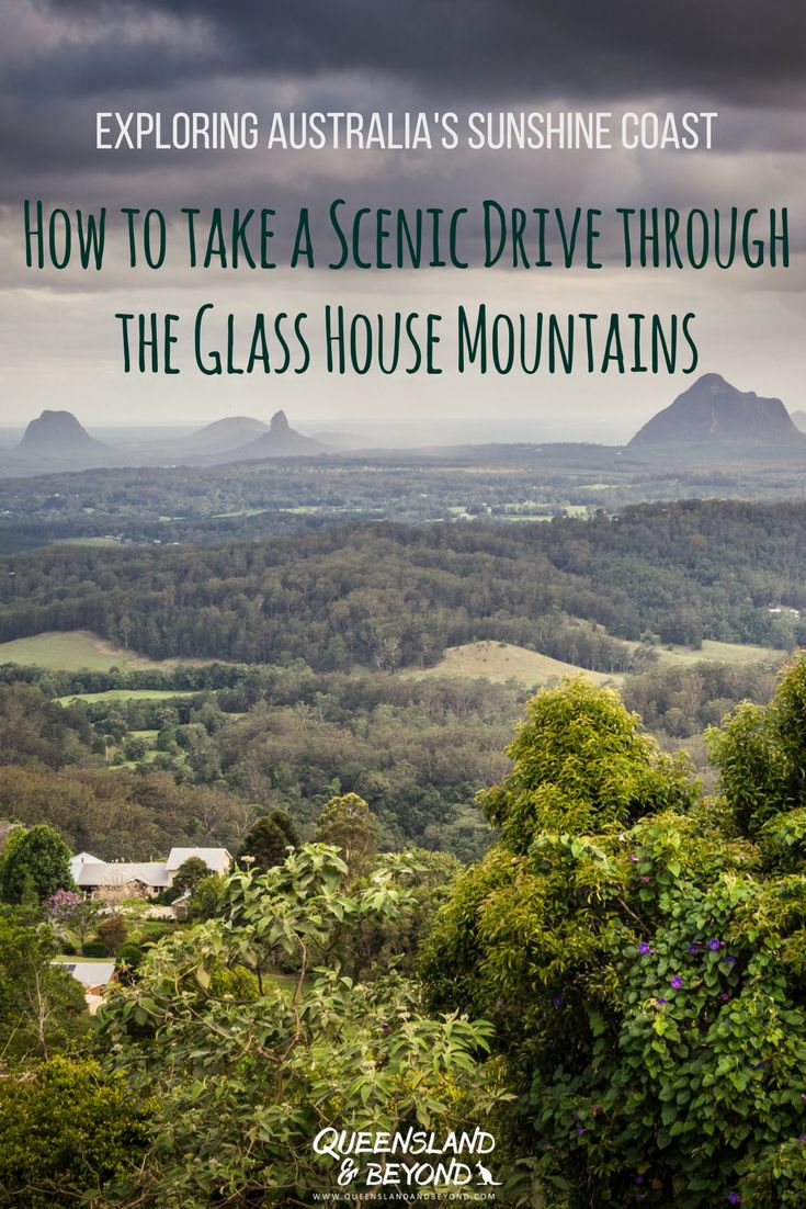 Taking a scenic drive is one of the best ways to appreciate the dramatic landscape of the Glass House Mountains in the Sunshine Coast Hinterland. Here's how to do it, including ideas for walks and lookouts not to miss.  Queensland & Beyond #australia #queensland #sunshinecoast #roadtrip #scenicdrive #glasshousemountains