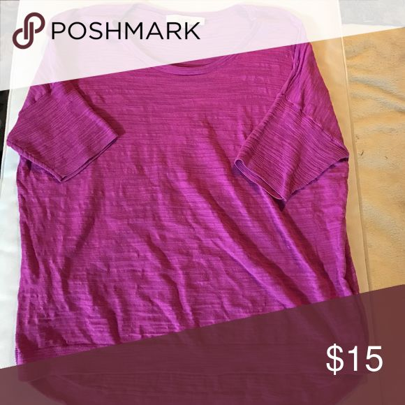 Loft pink/purple short sleeve top Pretty pinky purple short sleeve lightweight loose sweater. Excellent condition! LOFT Tops Tees - Short Sleeve