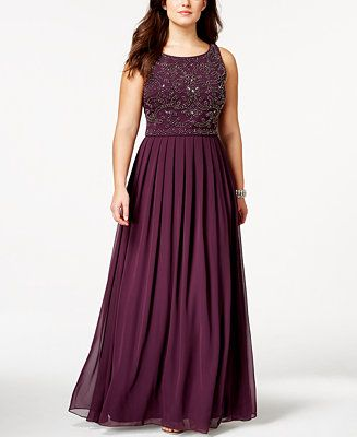Xscape Plus Size Beaded Empire Pleated Gown - Dresses - Plus Sizes - Macy's