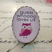 Pinkki pöllö 10€ #pöllösormus #owlring