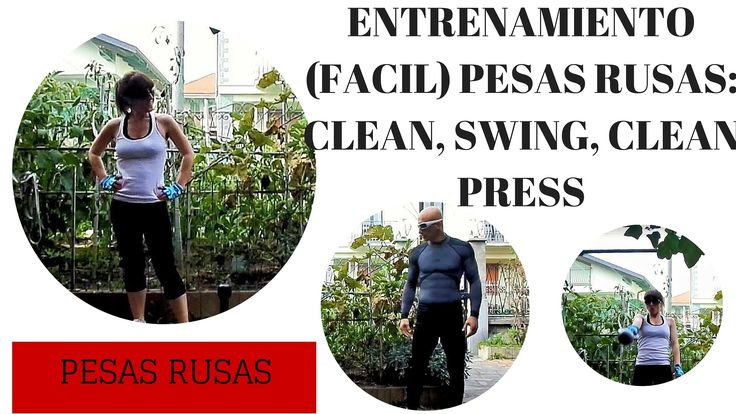 Entrenamiento facil para principiantes (hombres y mujeres) de pesas rusas kettlebells. Swing, clean y clean press. Rutina de pesas rusas para mujeres y hombres.