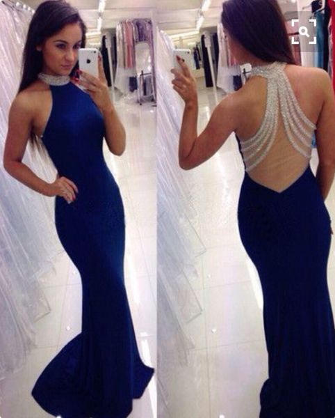 Royal blue prom dresses,mermaid backless long prom dress,stylish high neck beading prom gowns,2016 evening dress