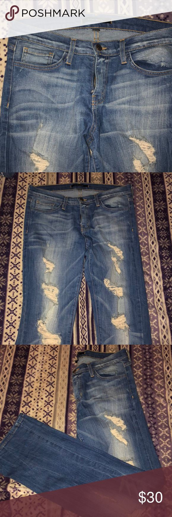 Flying Monkey jeans Distressed bootcut/flare jeans. They have a really fun medium wash. Super flattering- mix between a straight and a bootcut. flying monkey Jeans Boot Cut