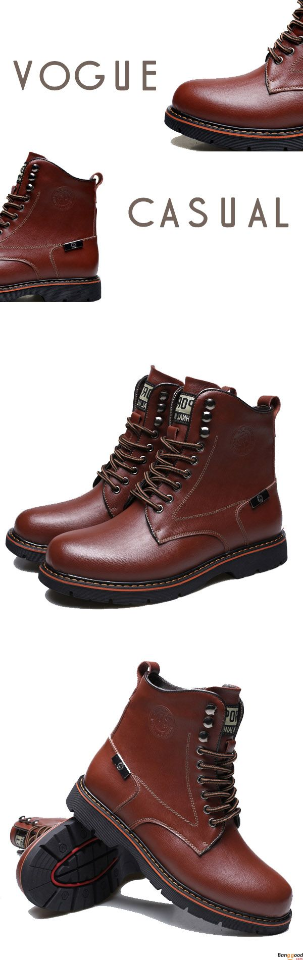 US$56.99+ Free Shipping   Men leather boots. 2 colors available. size: us6.5~us10. fashion and chic.  Men's shoes,men's boots, boots,biker boots,dr martens men's style, chic style, fashion style. Shop at banggood with super affordable price. #men'sshoes#men'sstyle#chic#style#fashion#style#wintershoes#men'sboots#bikerboots#drmartens