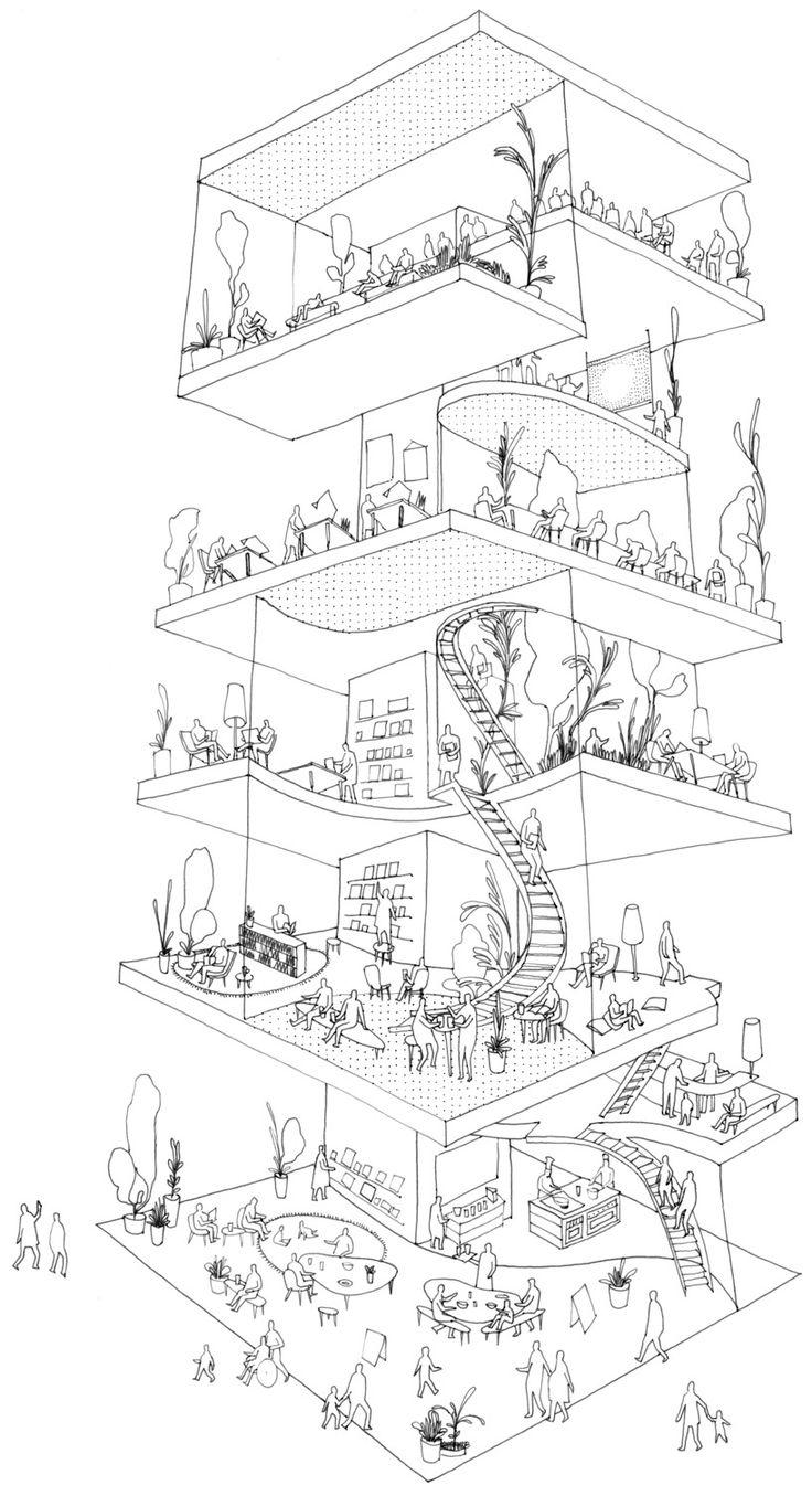kazuyo sejima: shibaura house illustration of various activities occurring within the building image © jody wong