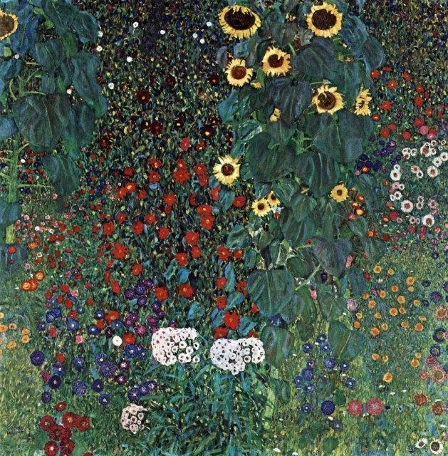 Garden with sunflowers, Gustav Klimt