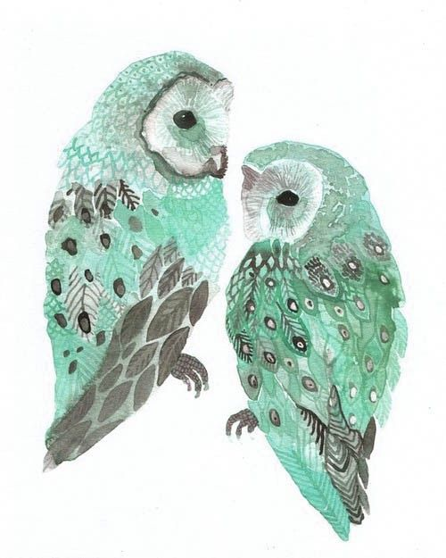 Heart broken that I can't find the maker of this print - WANT ONE SO BAD! Gorgeous mint barn owls...