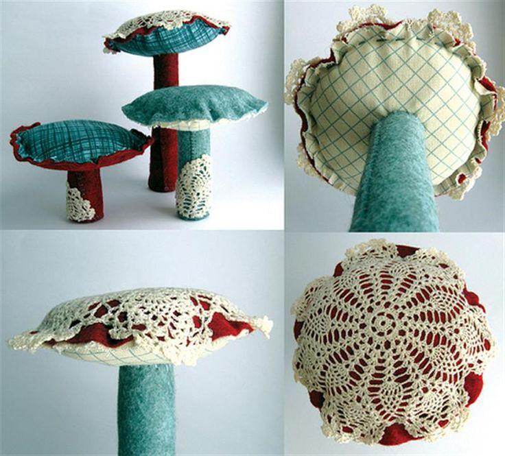 Mushrooms - but I would make the lace the bottoms...  : Mushrooms Lichen Fungi, Lacey Mushrooms, Doilies Mushrooms, Fungi Mushrooms, Mushrooms Twins, Fabric Mushrooms, Photo, Scraps Mushrooms