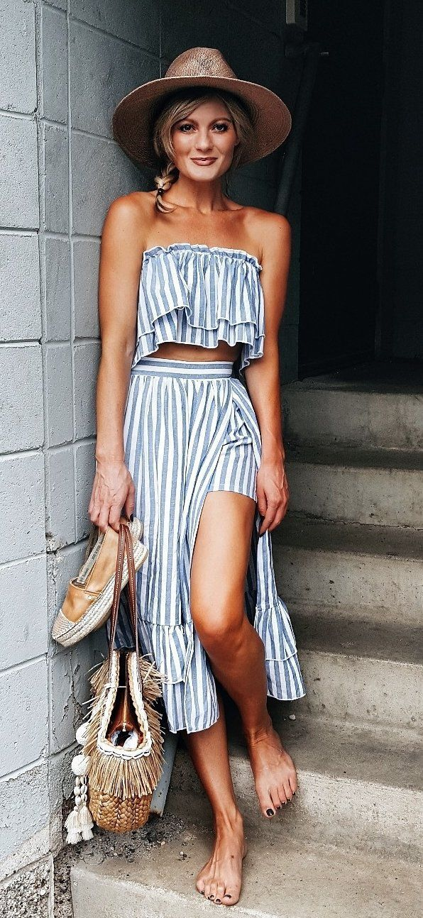 summer outfits Striped Off The Shoulder Top & Skirt
