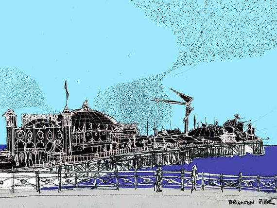 Starlings over Brighton Pier - print from original drawing by Tom Stevens.