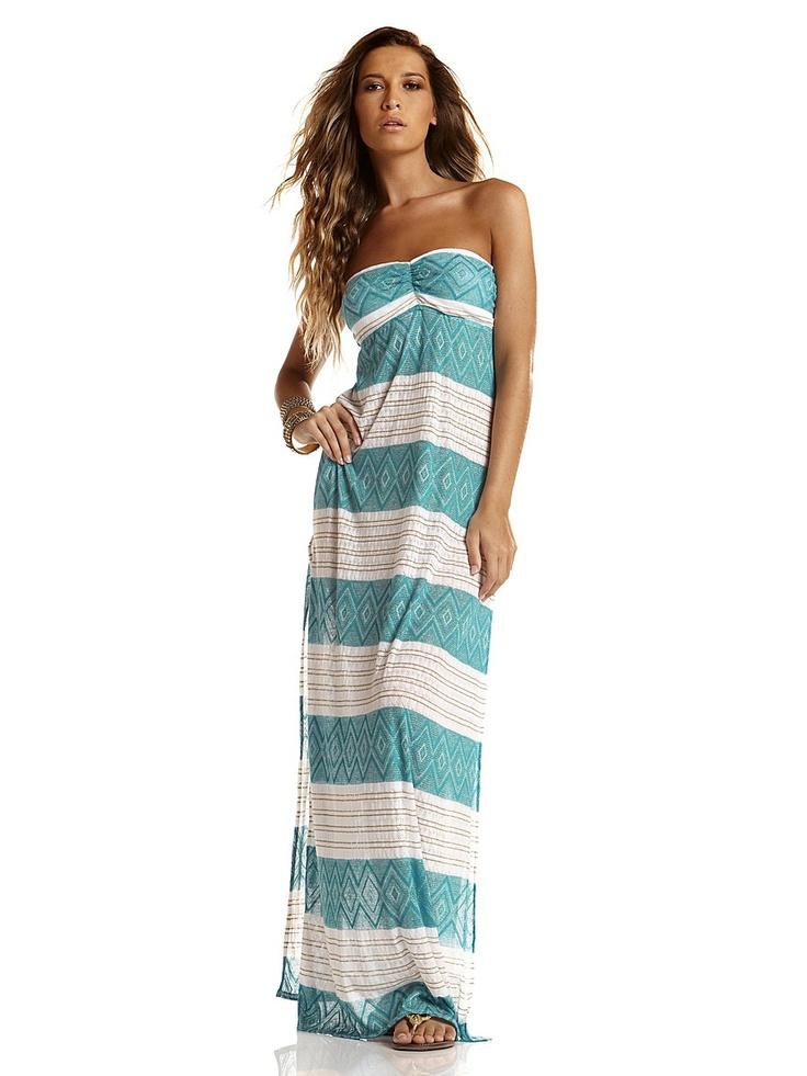 Платье Vitamin A. Цвет бирюзовый, белый. Категории: Купальники, пляжная одежда, Новые поступления, Пляжная одежда.