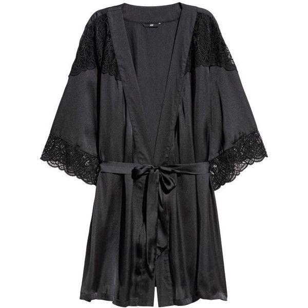 Satin Kimono $29.99 ($30) ❤ liked on Polyvore featuring intimates, robes, short kimono robe, light pink robe, short kimono, satin robe and satin kimono