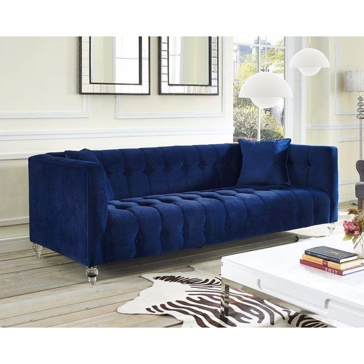 BEST PRICING  FREE SHIPPING  HIGH QUALITY  Velvet Chesterfield Sofa Luxury Modern Navy Elegant For Living Room Tufted Chic  DETAILS  This navy velvet chesterfield sofa is the perfect centerpiece for any glamorous ensemble.A study in modern eleg...