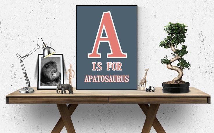 Dinosaur Alphabet -  alphabet poster - alphabet art - alphabet print - abc wall art - abc poster - abc print - abc nursery - kids wall deco
