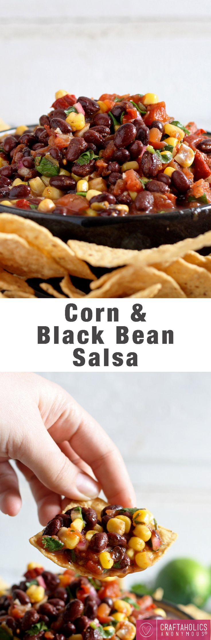 Yum! This Corn and Black Bean Salsa looks delicious! Simple recipe for parties! | Craftaholics Anonymous®