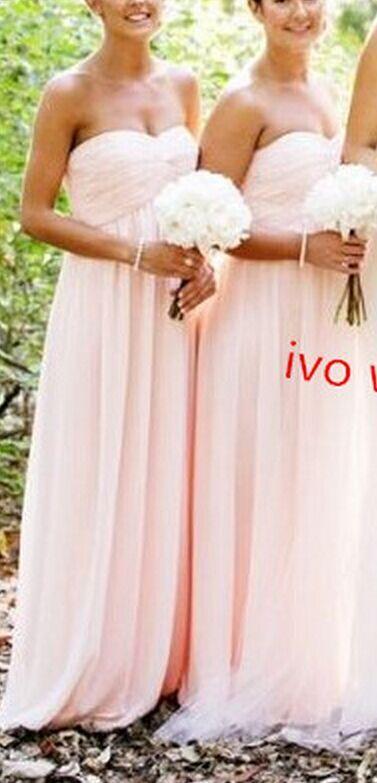 Pretty Simple Pink Chiffon Sweetheart Bridesmaid Dresses, Handmade Pink Bridesmaid Dresses, Cute Bridesmaid Dresse