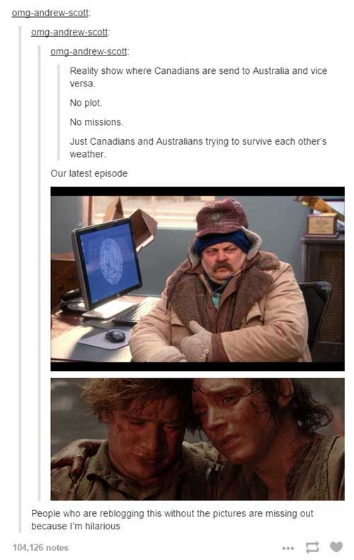tumblr canada reality show. Canadian will be okay in Oz but an Ozzy won't understand that a 0 degree day is considered a short sleeves day.