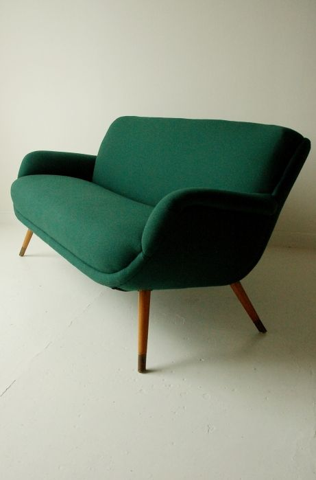 Absolutely love this green sofa from the 1950s. Need one!