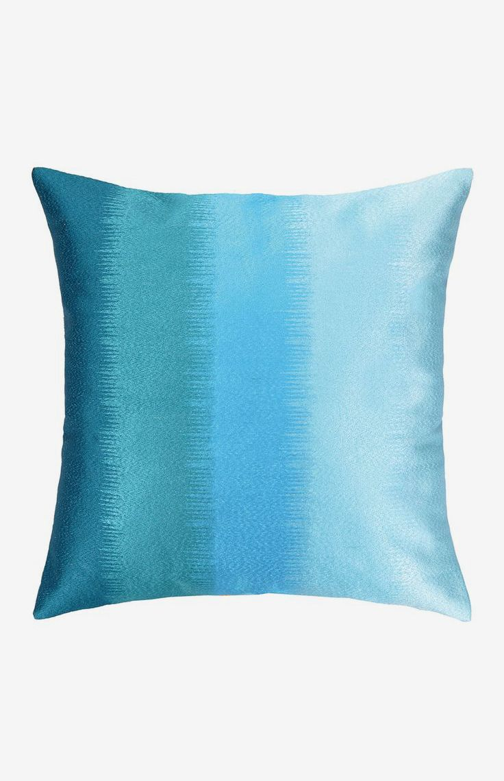 Ombre Embroidered Large Square Pillow - Aqua