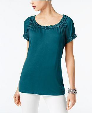 Women, short sleeve top - Macy's  INC International Concepts Scoop-Neck Satin-Trim Top, Created For Macy's