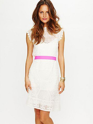 Free People lace dress with hot pink belt: Shorts Lace Dresses, Receptions Dresses, Pink Ribbons, Rehear Dinners Dresses, Free People, Satya Shorts, White Lace, Short Lace Dress, People Satya