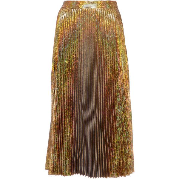 Delfi Collective Clara Pleated Shimmer Skirt (1.390 RON) ❤ liked on Polyvore featuring skirts, gold, high rise skirts, gold high waisted skirt, knee length pleated skirt, high-waisted skirts and high waisted knee length skirt