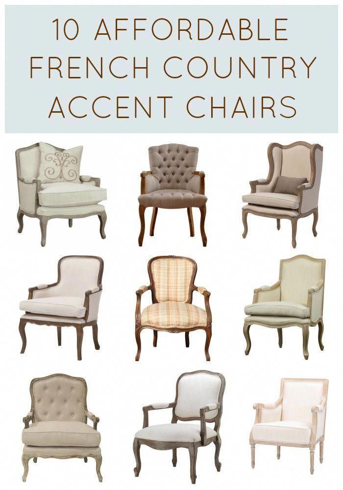 It doesn't have to cost a fortune to buy gorgeous French Country chairs! These 10 affordable accent chairs cost less than $500 each, with many closer to $300! Amazing collection!! Add French charm to your living room now! Complete source list with direct links to buy now | #Designthusiasm. #homedecorideaslivingroom
