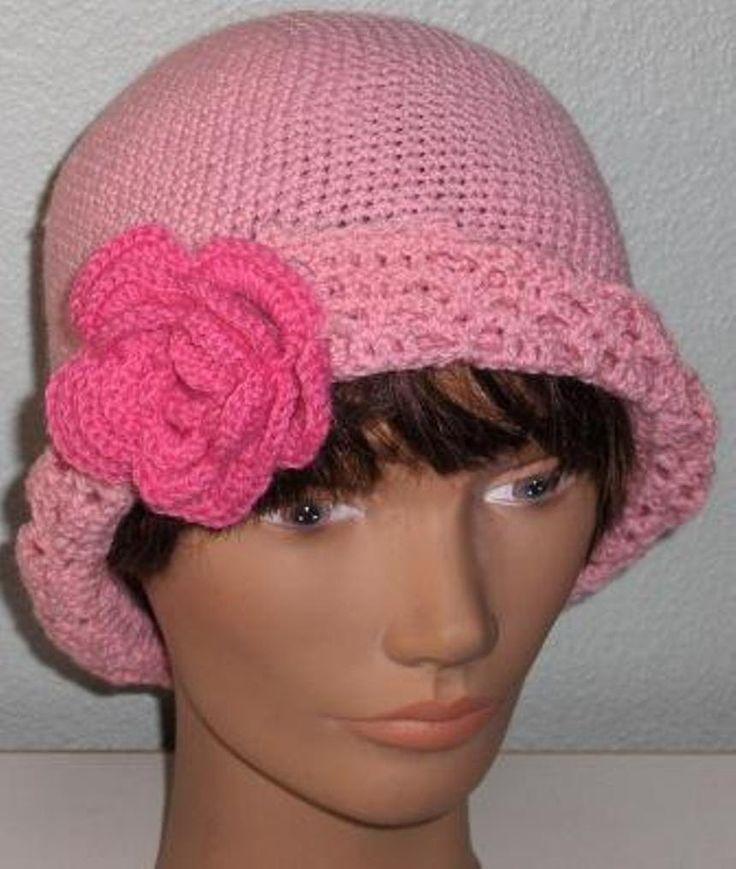 New crochet women hat, crochet hat, flower hat, crochet flower hat, pink hat, ready to ship by Hildescrochetshop on Etsy