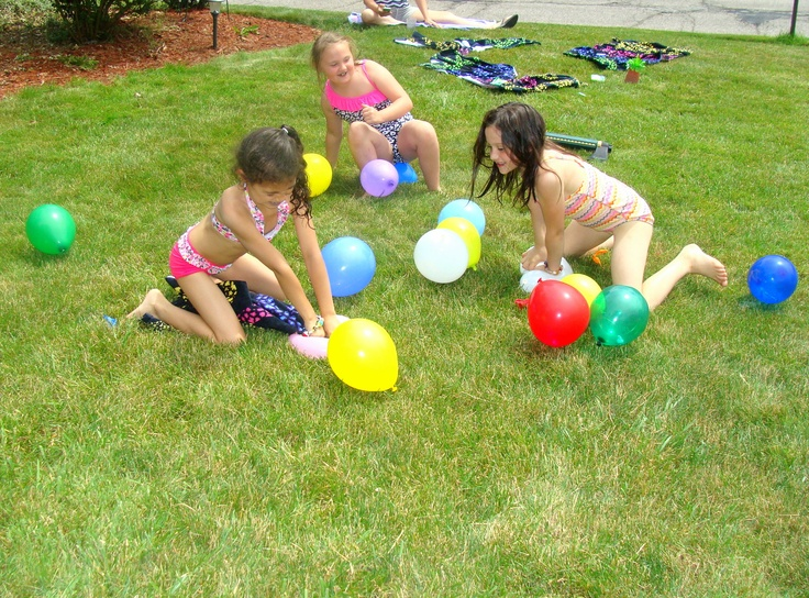 candy balloon pop, pool party games, outdoor party, kids birthday. Stuff small Candys (pixie sticks, suckers, kisses) inside balloons before blowing them up.