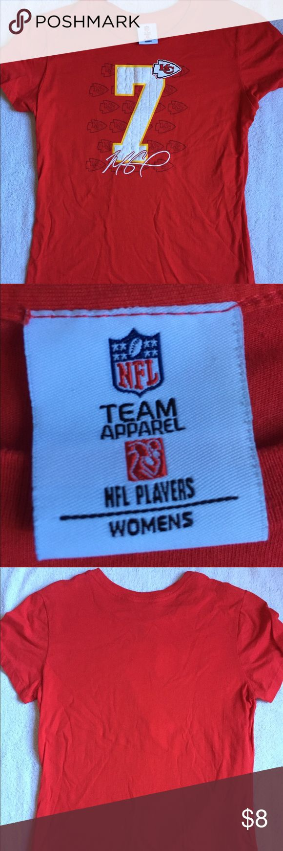 KC Chiefs Matt Cassel 7 Women's Shirt Barely worn. Fits snug.  Measurements: 23 inches in length, 18 inches across chest, 16 inches across waist.  Material: 100% Cotton Tops Tees - Short Sleeve