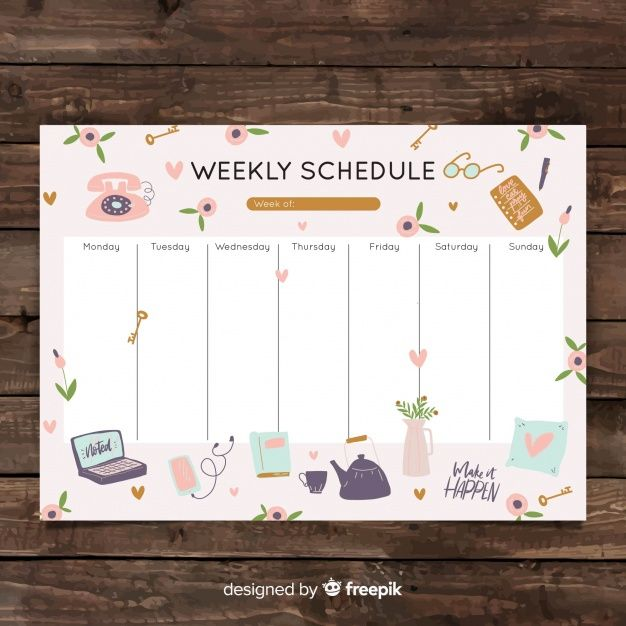 Download Cute Hand Drawn Weekly Schedule Template For Free