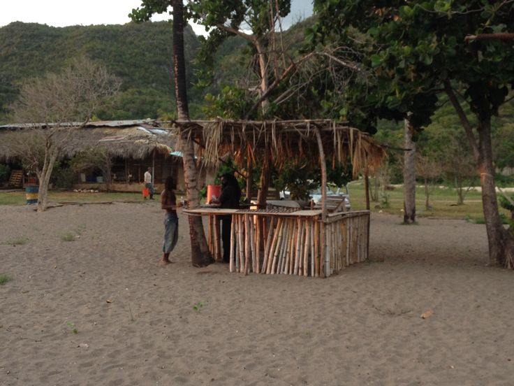 On the beach at Gut River, Jamaica WI. A day with the fishermen and preparing salt fish.