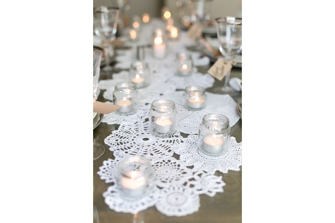 {Wedding} Crochet doily table runner in white by Lovilee