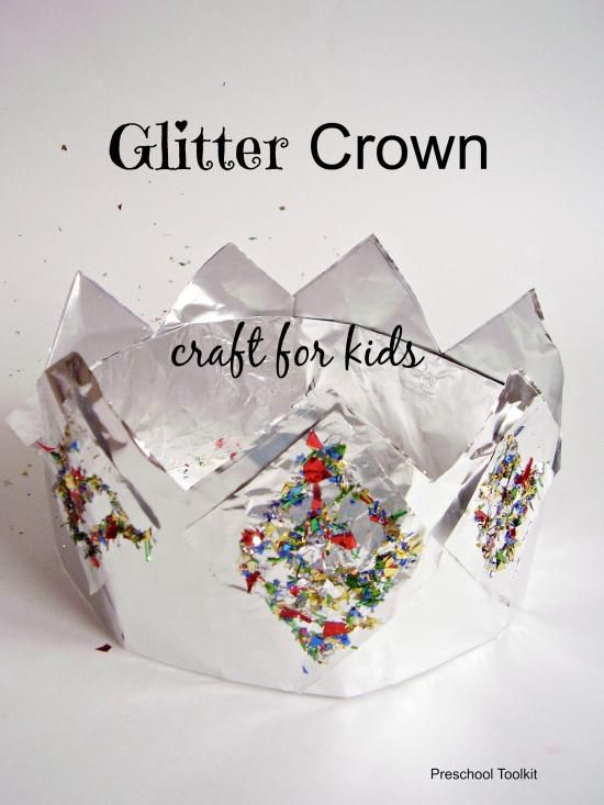 Glitter and foil crown craft for kids - perfect for New Year's celebrations - Preschool Toolkit