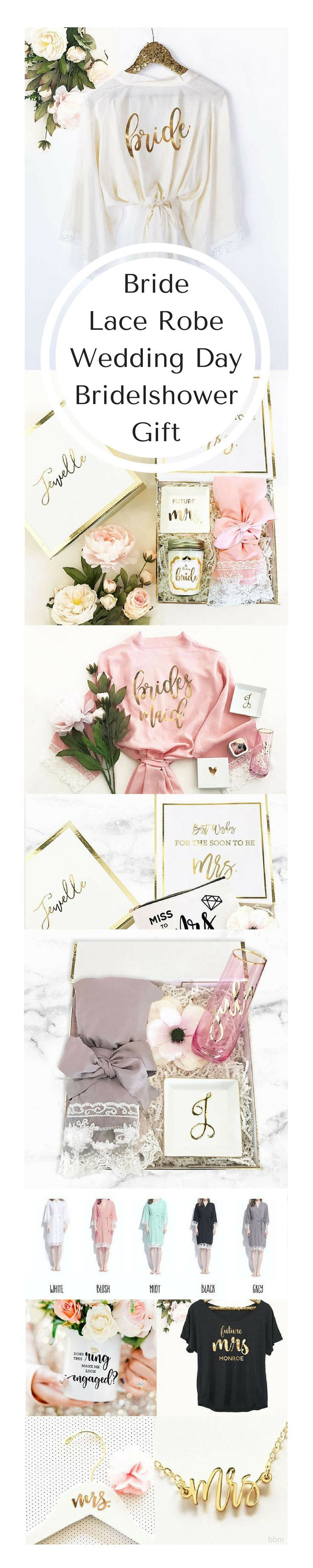 So Pretty! from Etsy - Bride Robes with Lace make the perfect wedding day or bridal shower gift for the bride to be! These delicate lace trimmed robes come with a gold foil title on the backside. Comes with a matching belt for the outside. #bridetobe #weddingday #ad #bbmaff #weddingpreparation #weddingplanning #bridalshower #gettingmarried #gettingdressed #lace #robe