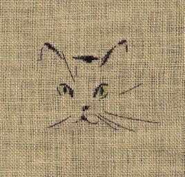 tête de chat - ouvrage brodé (voir grille)