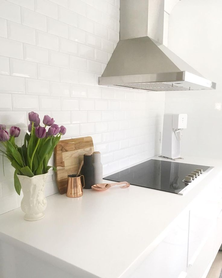 Our Scandi House   White Kitchen   White Subway Tile   Oversized Exhaust Fan   Cooktop   Copper Accents   Ikea Ringhult Kitchen   www.ourscandihouse.ca
