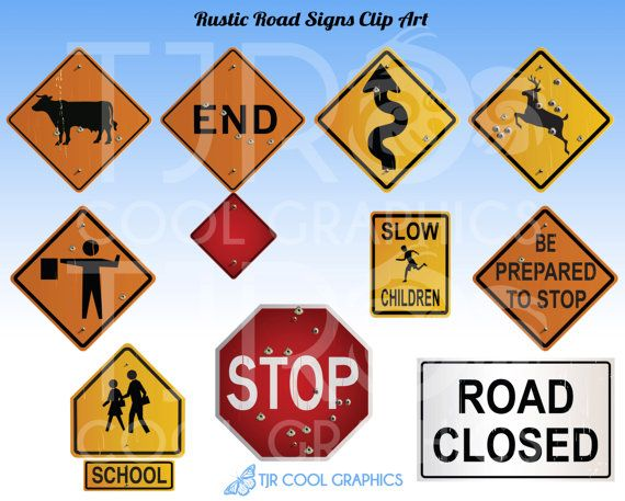 Rustic Road Signs Clipart Construction Clip Art by JoyCreating