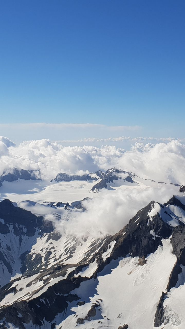 Snow Mountains Clouds Blue Sky Nature Wallpaper Nature Wallpaper Snow Mountains Mountain Wallpaper