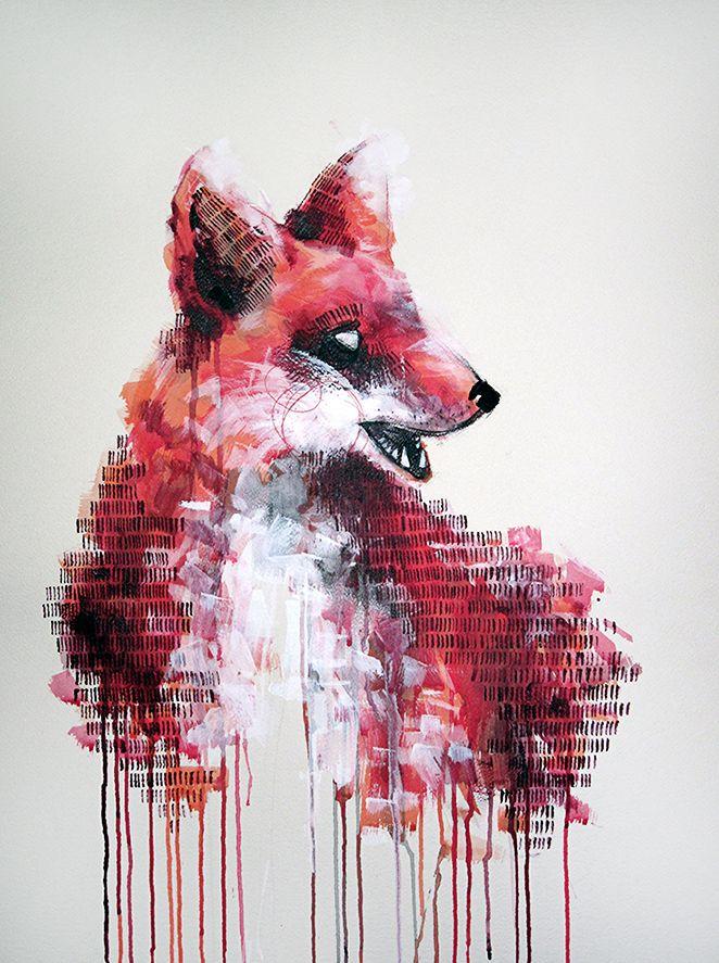'The Fox' Mixed media on watercolour paper 55cm x 75cm painting by Michael Cain- Gnashing Teeth (gnashingteeth)