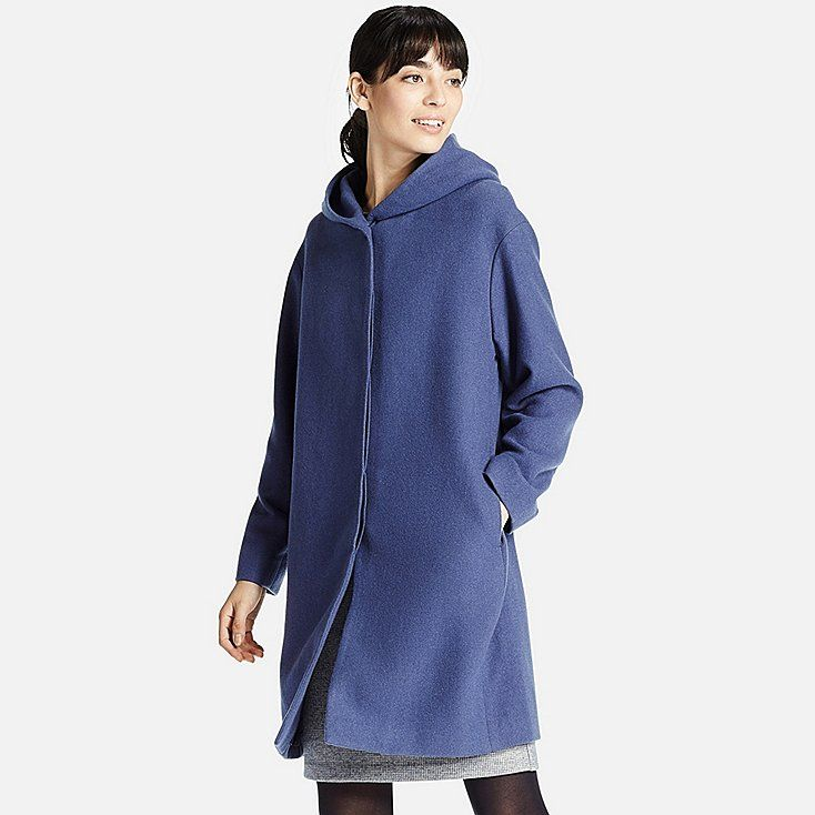 WOMEN SOFT WOOL BLEND HOODED COAT, BLUE https://www.uniqlo.com/us/en/women-soft-wool-blend-hooded-coat-184541.html?dwvar_184541_color=COL31&cgid=women-outerwear-and-blazers-wool#BVReviewsContainer