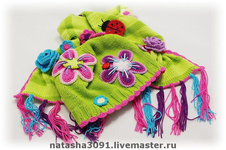 """Купить Комплект (двухслойная шапка+шарф) """"Цветочная полянка"""" - шапочка, детская шапочка, шапочка для девочки"""