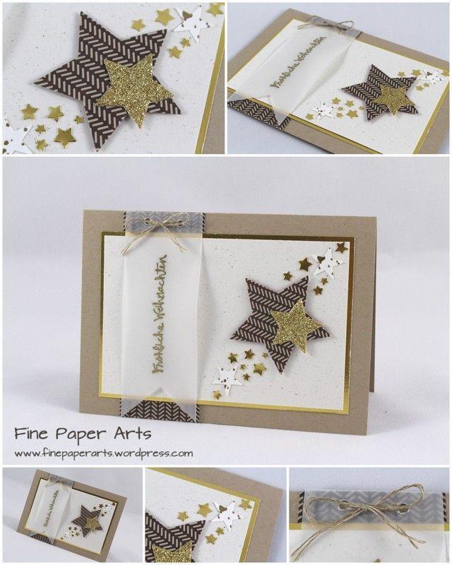 STERNENKARTE GOLDGLITZER Eine Weihnachtskarte mit vielen Goldelementen...das war diesmal mein kreatives Ziel. Kombiniert mit Savanne und Espresso ergibt sich daraus eine harmonische Farbkombination...