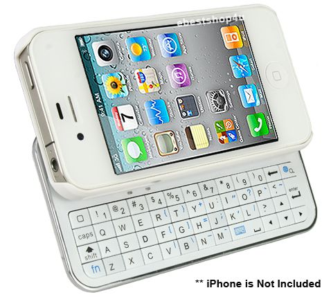 Sliding Black or White Bluetooth Keyboard Hardshell Case for iPhone 4 and 4S | eBay