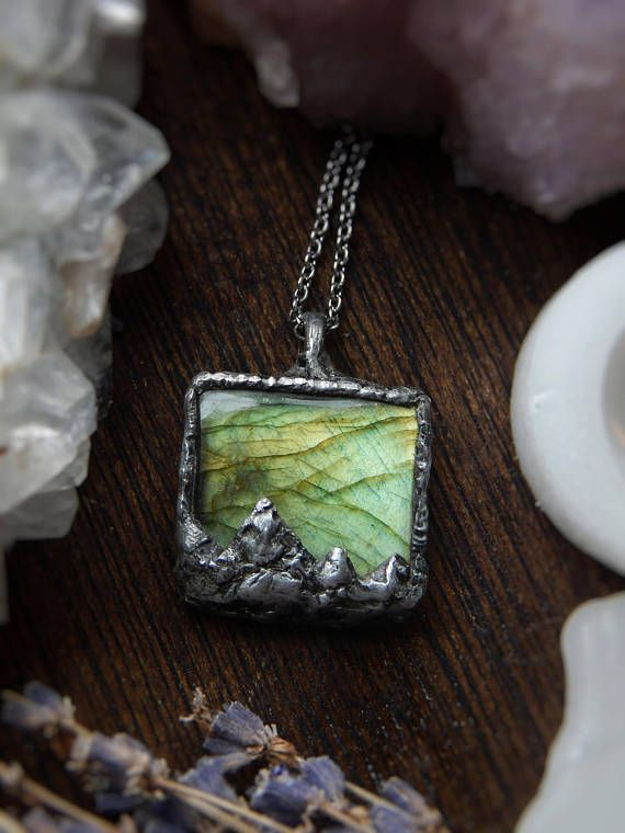 Labradorite Neckace, Mountain Necklace, Tiffany Technique, Primal Montana, Boho, Rustic, Nature Jewelry, Green Necklace, Gift For Mom