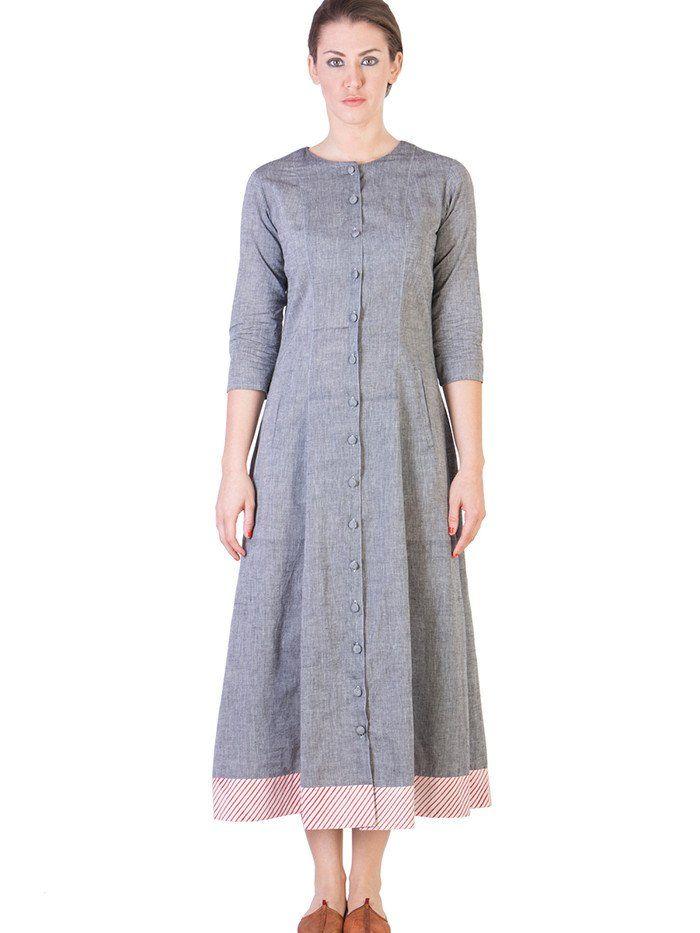 Grey Mangalgiri Cotton Paneled A-Line Tunic