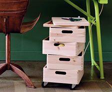 Kistenturm selbstgemacht - der etwas andere Rollcontainer #Selbstbauanleitung #Schreibtisch #Aufbewahrung